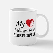Heart Belongs Firefighter Mug