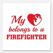 "Heart Belongs Firefighter Square Car Magnet 3"" x 3"
