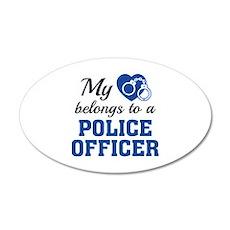 Heart Belongs Police Officer 22x14 Oval Wall Peel