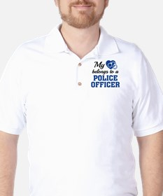 Heart Belongs Police Officer Golf Shirt