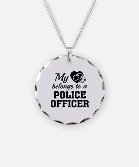 Heart Belongs Police Officer Necklace Circle Charm