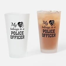 Heart Belongs Police Officer Drinking Glass