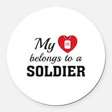 Heart Belongs Soldier Round Car Magnet
