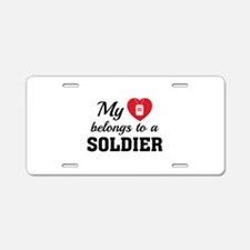 Heart Belongs Soldier Aluminum License Plate
