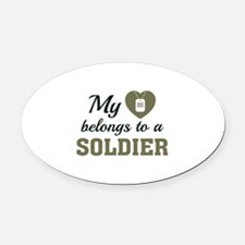 Heart Belongs Soldier Oval Car Magnet