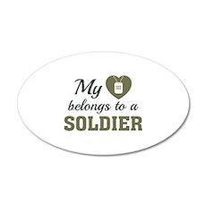 Heart Belongs Soldier 22x14 Oval Wall Peel