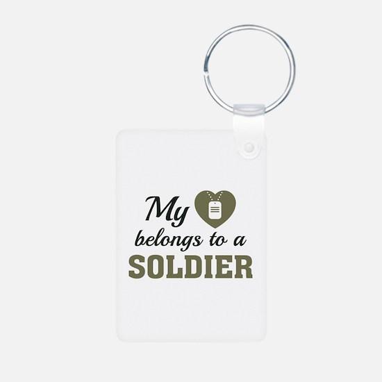 Heart Belongs Soldier Keychains