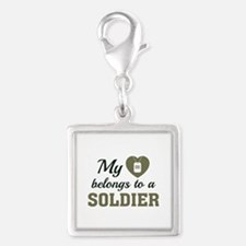 Heart Belongs Soldier Silver Square Charm