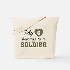 Heart Belongs Soldier Tote Bag