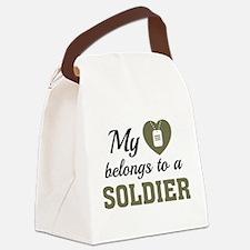 Heart Belongs Soldier Canvas Lunch Bag