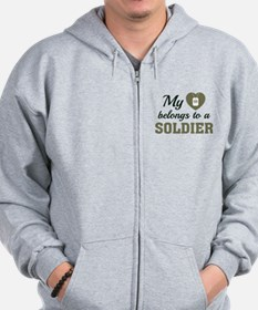 Heart Belongs Soldier Zip Hoodie