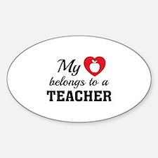 Heart Belongs Teacher Sticker (Oval 10 pk)