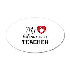 Heart Belongs Teacher 22x14 Oval Wall Peel