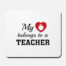 Heart Belongs Teacher Mousepad
