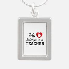 Heart Belongs Teacher Silver Portrait Necklace