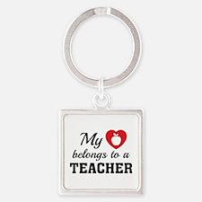 Heart Belongs Teacher Square Keychain
