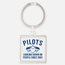 Pilots Looking Down Square Keychain