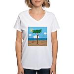 Bassoon Beach - Women's V-Neck T-Shirt