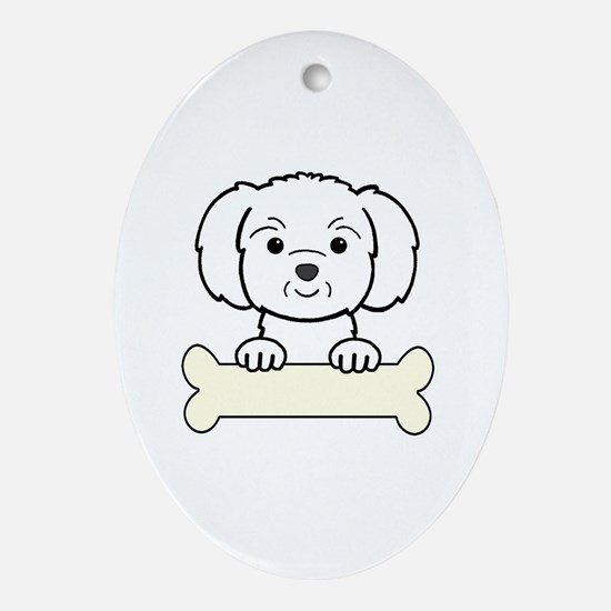Unique Cute dog art Oval Ornament