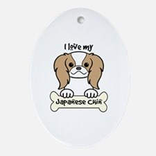 Unique Japanese chin puppy Oval Ornament