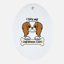 Cool Japanese chin puppy Oval Ornament
