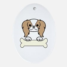 Cute Japanese chin puppy Oval Ornament