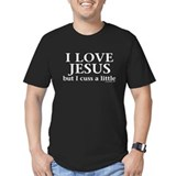 I love jesus but i cuss a little Fitted T-shirts (Dark)
