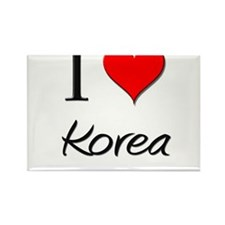 I Love Korea Rectangle Magnet