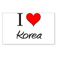 I Love Korea Rectangle Decal