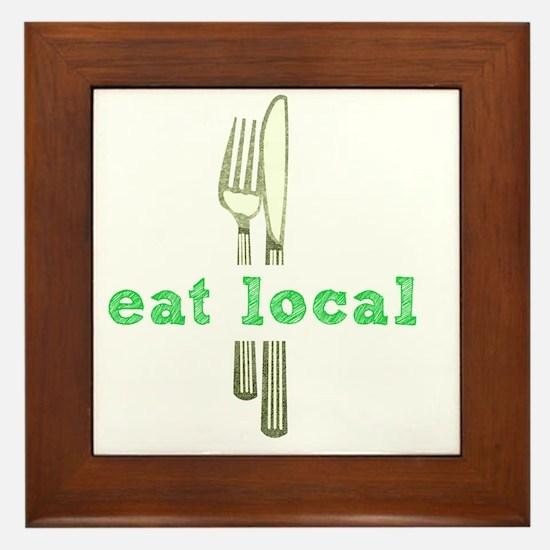 Cute Eat local Framed Tile
