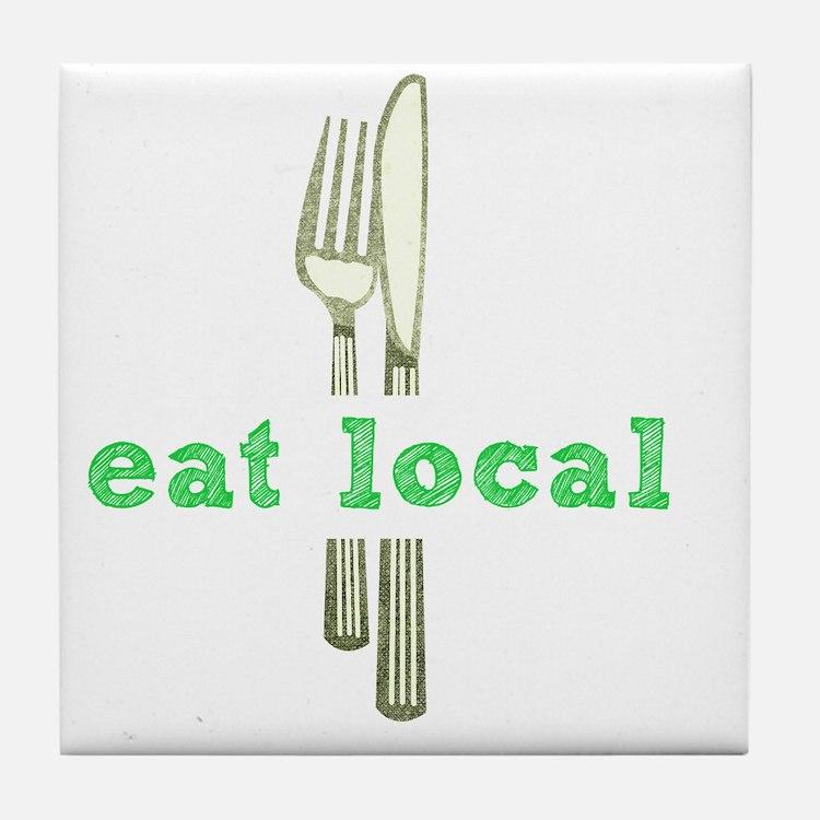 Cute Eat local Tile Coaster