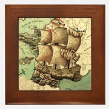 Ancient Map Framed Tile