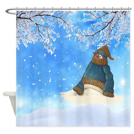 half melted snowman shower curtain by crowsscorner. Black Bedroom Furniture Sets. Home Design Ideas