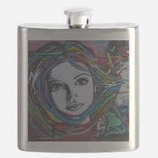 Graffiti Girl with Rainbow Hair Flask