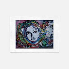 Graffiti Girl with Rainbow Hair 5'x7'Area Rug