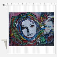 Graffiti Girl with Rainbow Hair Shower Curtain