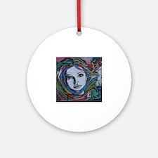 Graffiti Girl with Rainbow Hair Round Ornament