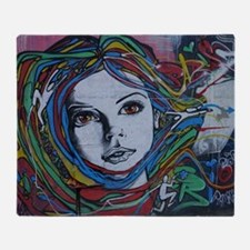 Graffiti Girl with Rainbow Hair Throw Blanket