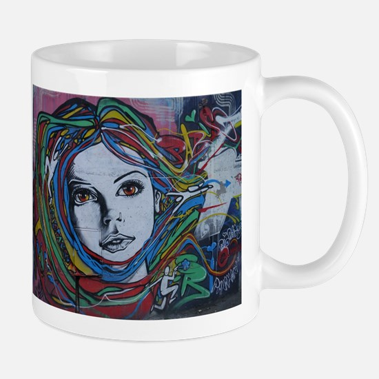 Graffiti Girl with Rainbow Hair Mugs