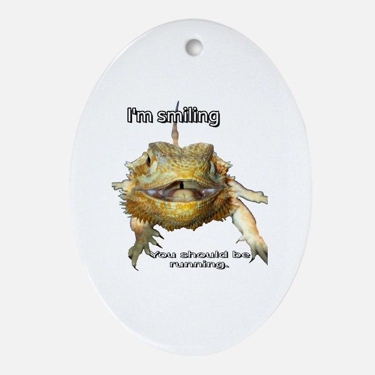 Cute Bearded dragon Oval Ornament