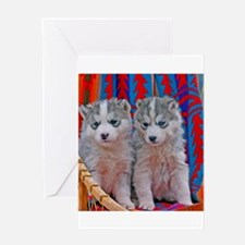 Two Husky Puppies in sled Greeting Cards