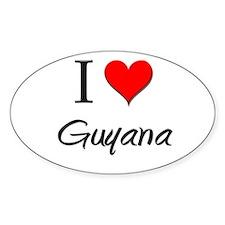 I Love Guyana Oval Decal