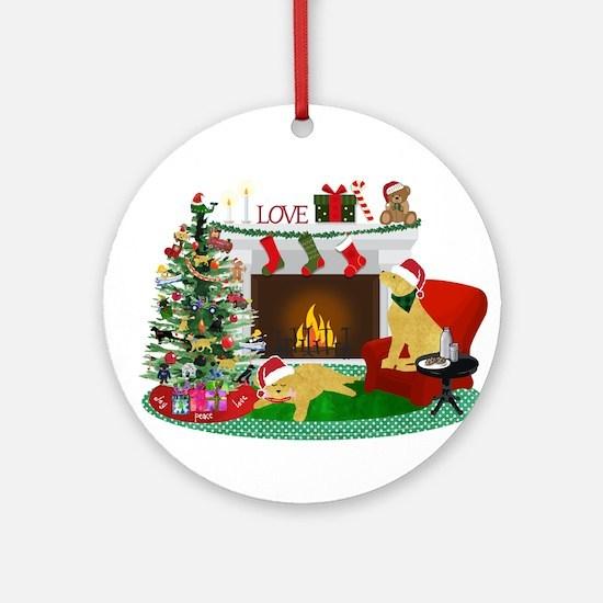 Waiting For Santa Round Ornament