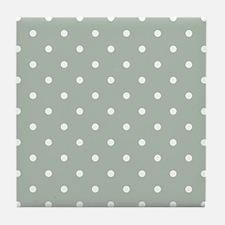 Green, Sage: Polka Dots Pattern (Smal Tile Coaster