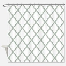 Moroccan Quatrefoil Pattern: Sage G Shower Curtain
