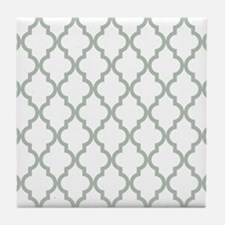 Moroccan Quatrefoil Pattern: Sage Gre Tile Coaster