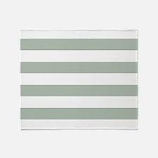 Horizontal Stripes: Sage Green Throw Blanket