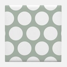Green, Sage: Polka Dots Pattern (Larg Tile Coaster