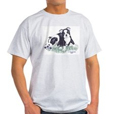 Boston Terrier Puppies Ash Grey T-Shirt