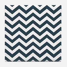 Blue, Grey: Chevron Pattern Tile Coaster